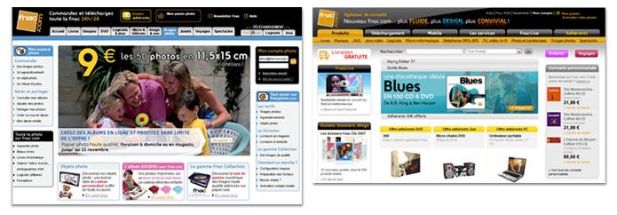 comparaison des sites, avant - après