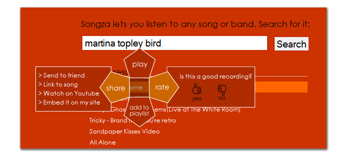 Songza options