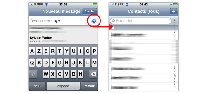 iphone sms contact